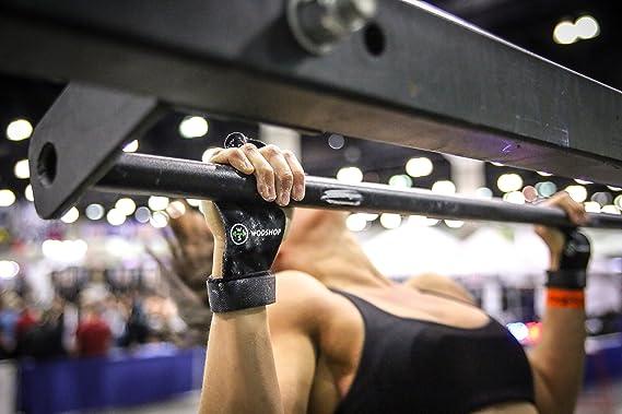 wodshop piel auténtica mano Grips para crossfit WODs, dominadas, gimnasia, levantamiento de peso, barra para mancuernas de pesas rusas de vinilo, ...