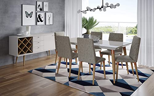 Manhattan Comfort Utopia Ultra Modern 7-Piece Dining Room Table and Chair Set