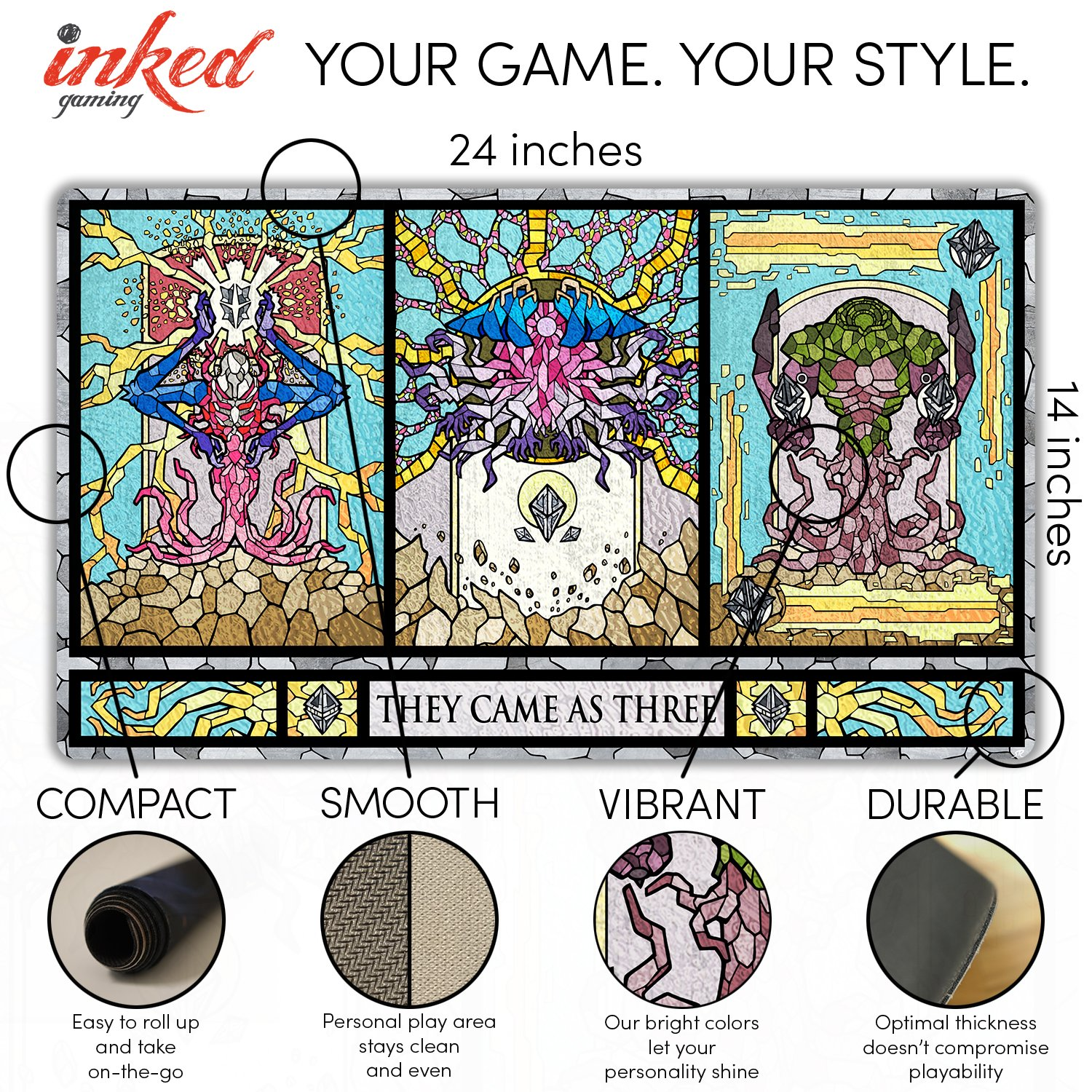 Inked Playmats Stained Glass Titans Card Playmat - Inked Gaming Perfect for Card Gaming TCG Game Mat by Inked Playmats (Image #3)
