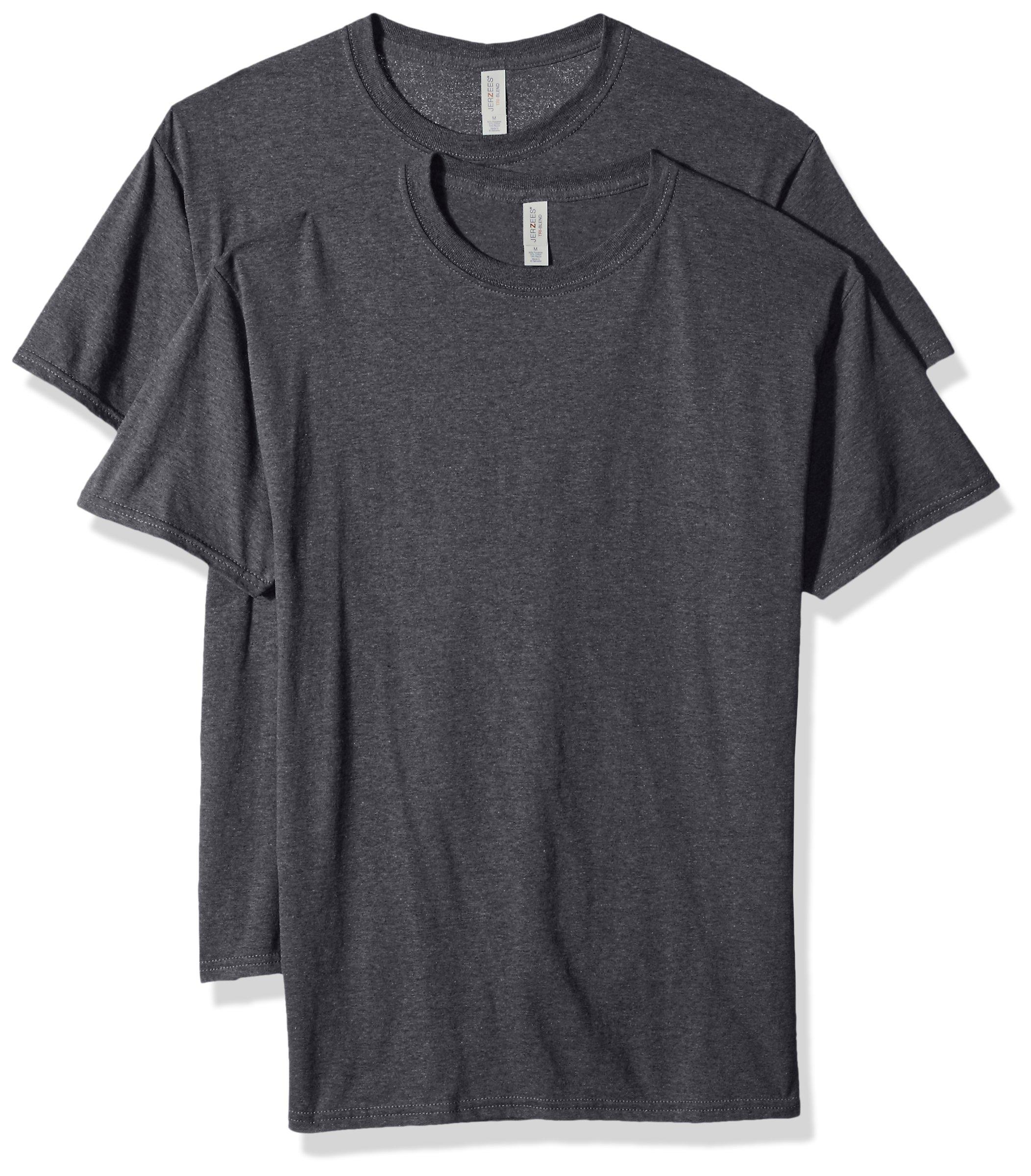 Jerzees Men's Tri-Blend 2 Pack T-Shirt, Black Heather, X-Large