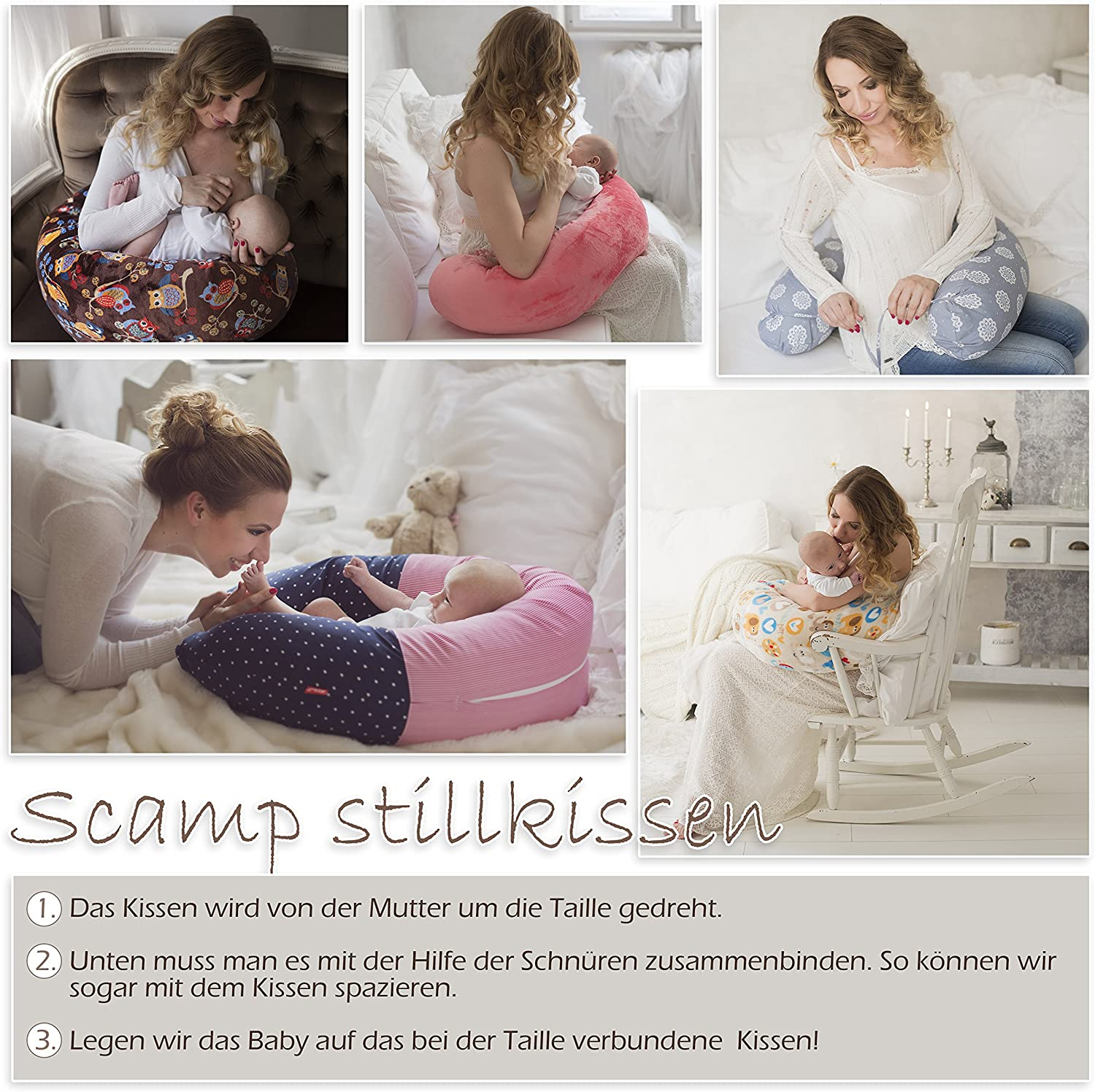 Scamp Nursing Pillow Universal Pregnancy Pillow Including Cover in Different Design