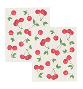Now Designs Swedish Dishcloth (Set of 2), Cherries, 2 Piece