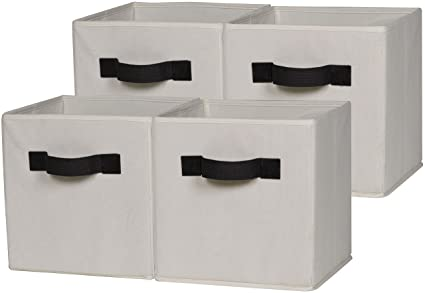 Genial OneSpace 50 CB4P08 Foldable Cloth Storage Cube Set, 4 Pack, Beige