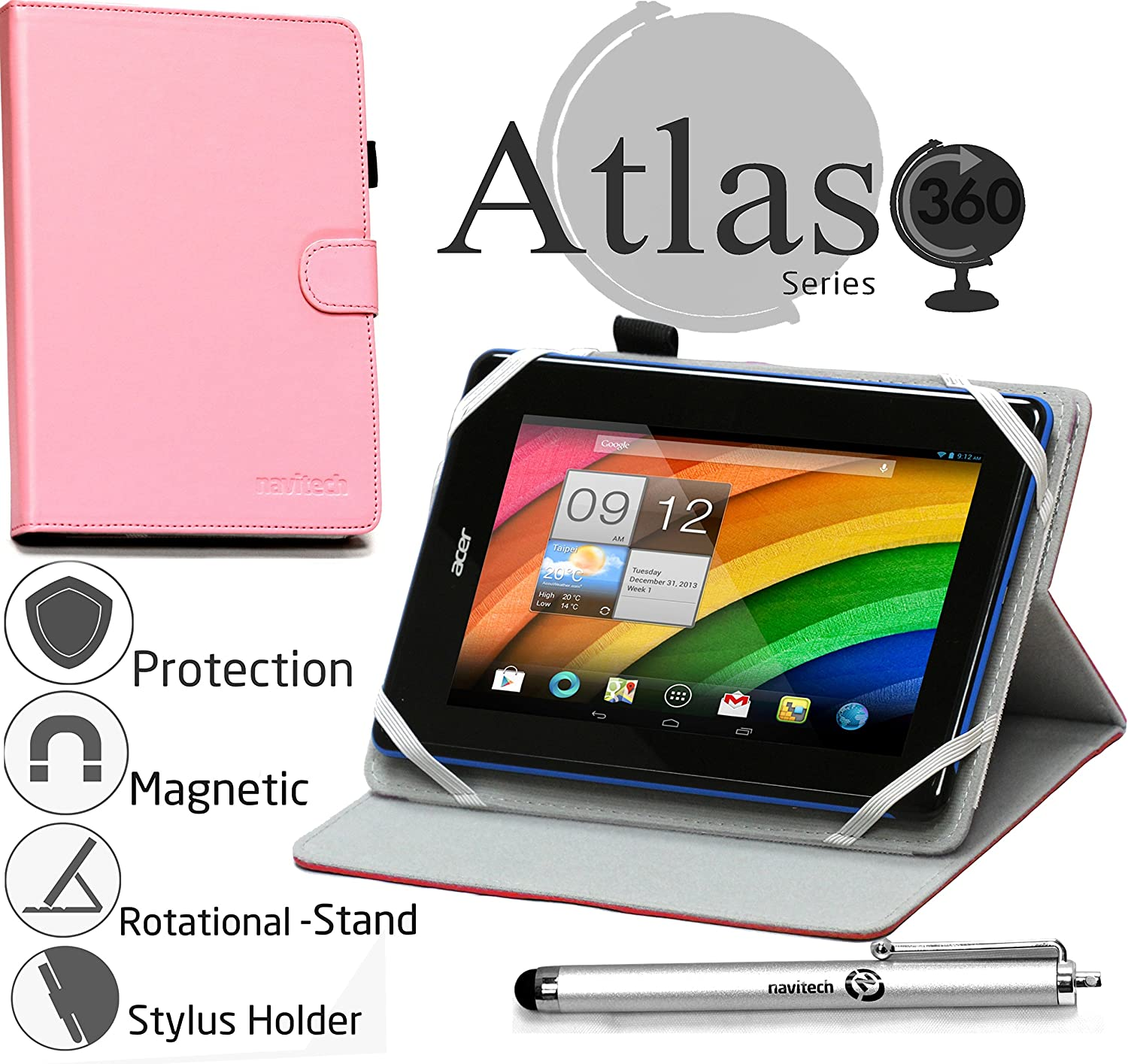 "Navitech 7"" Pink Case/Cover with 360 Rotational Stand & Stylus Pen Compatible with The Toshiba Encore Mini/Lenovo Tab S8-50 / Acer Iconia Tab 7 A1-713HD"