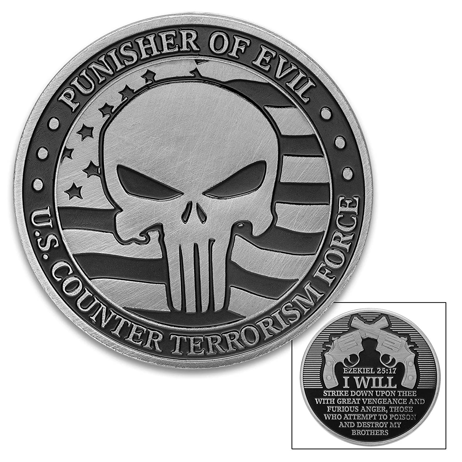 K EXCLUSIVE Punisher of Evil Challenge Coin - Crafted of Metal Alloy, Detailed 3D Relief On Each Side, Collectible - Diameter 1 5/8