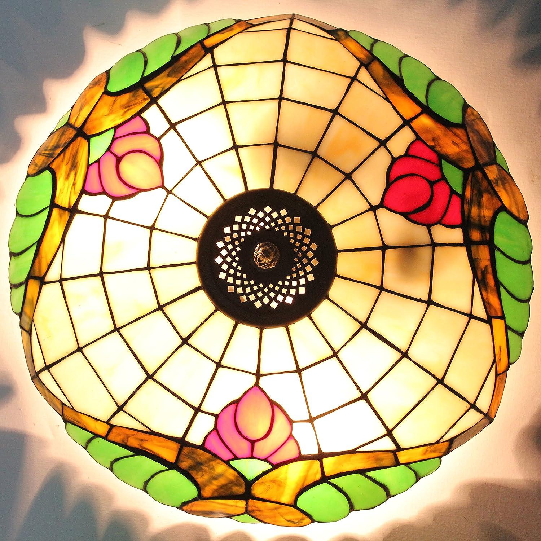 ETERN 16-Inch European Retro Style Sweet Flower Stained Glass Flush Mount Ceiling Light Dining Room Light
