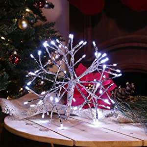 Alpine Corporation CRD100S-WT Christmas Twig Snowflake Ornament with LED Lights Indoor Festive Holiday Décor, 10-Inch, White