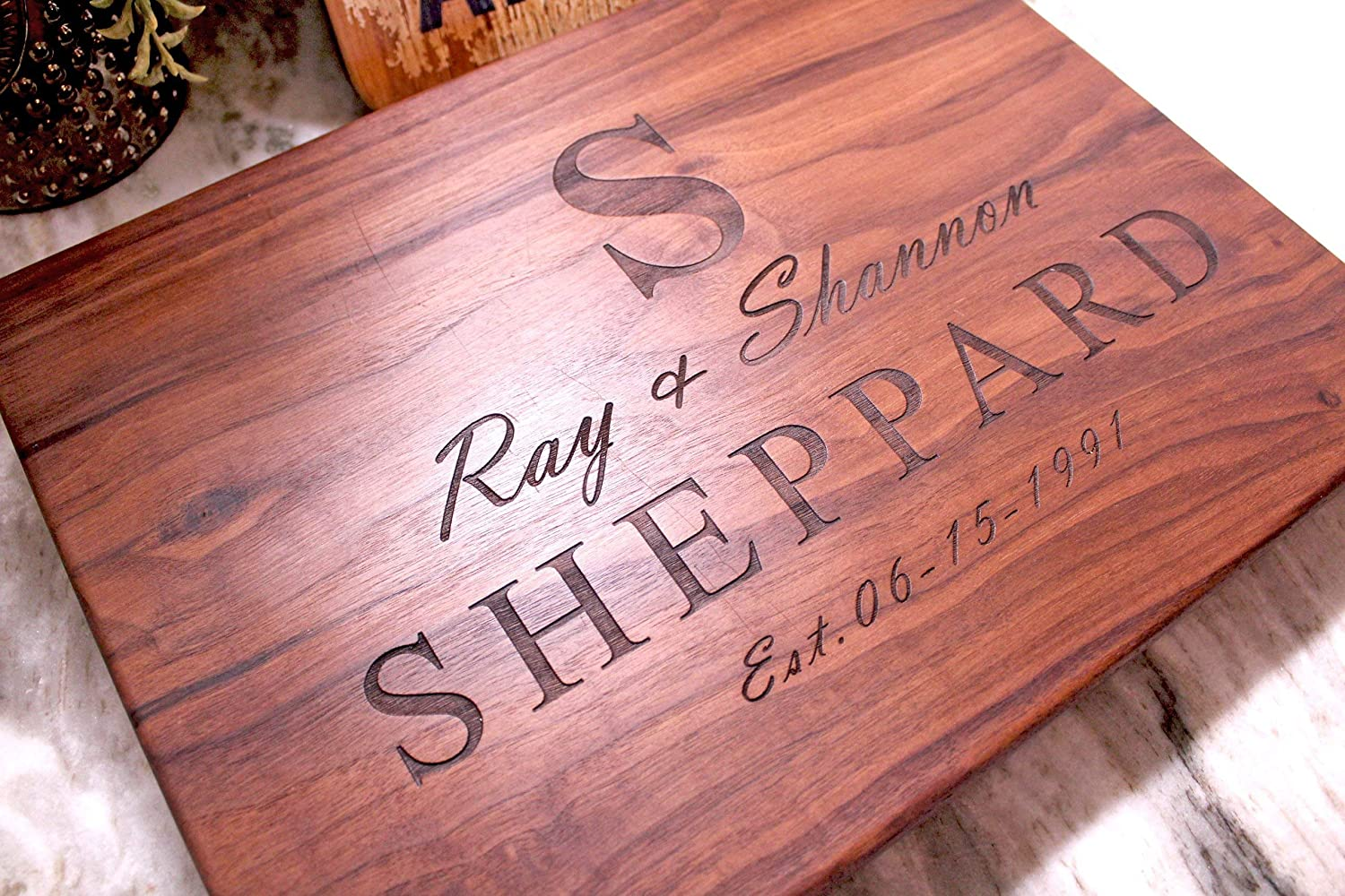 Anniversary gift or Wedding Gift, Personalized Cutting Board Designed as Wedding Gifts for the Couple or Wedding Anniversary Gifts for your Husband or Wife.