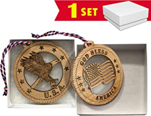 Jolette Designs Patriotic Christmas Tree Ornament Set, Patriots Wooden Decorations with American Flag and Eagle Decor. Military, 4th of July. 3.25x3.25 Made in USA. Red, White and Blue Hanging Cord