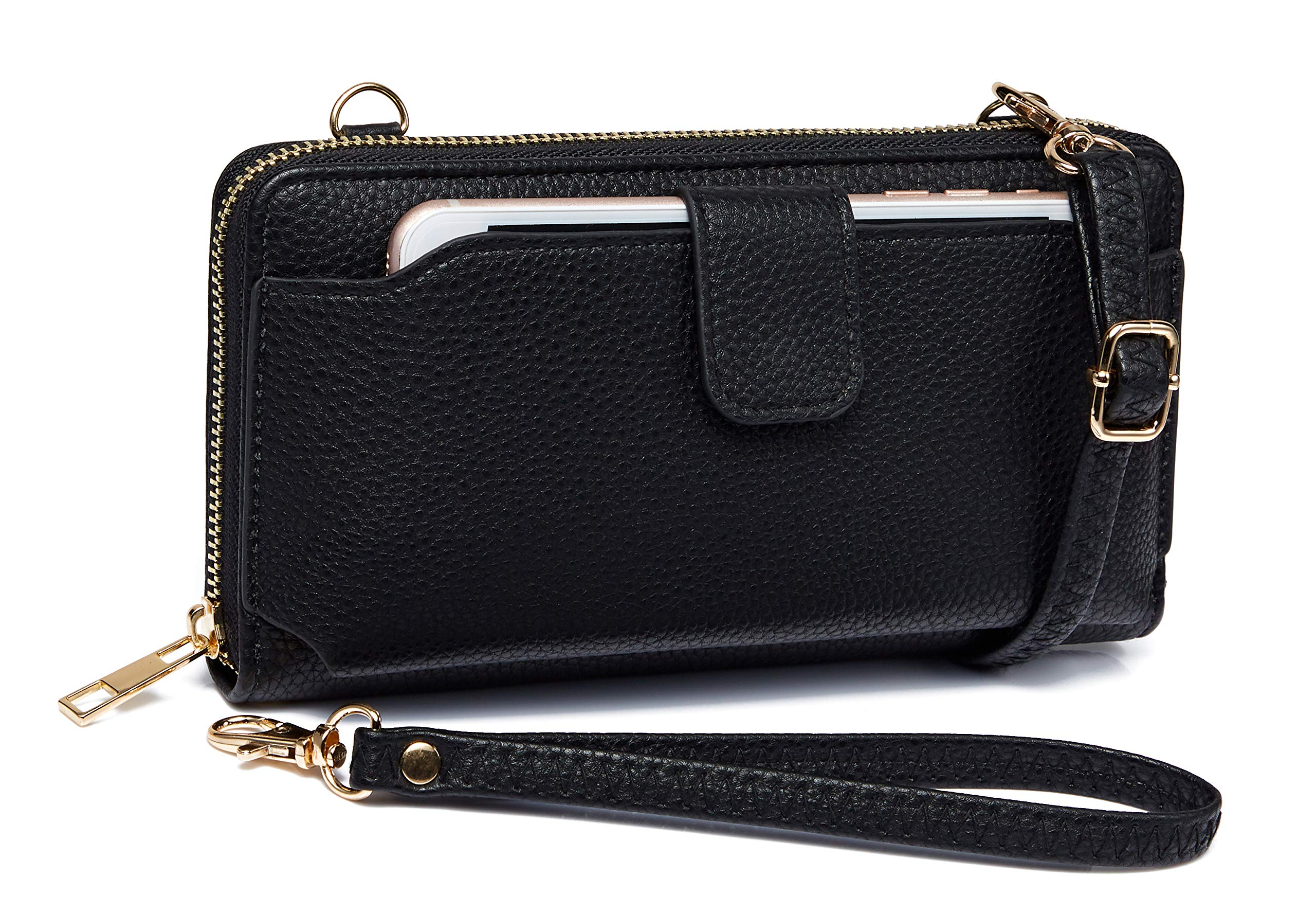 Heaye Wristlet Wallet with Cell Phone Holder Crossbody Bags Purse for Women Black by Heaye