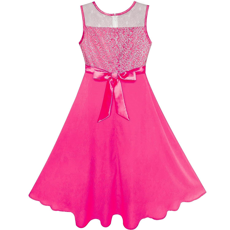 Sunny Fashion Vestido Rosa para Baile niña Diamante de imitación ...