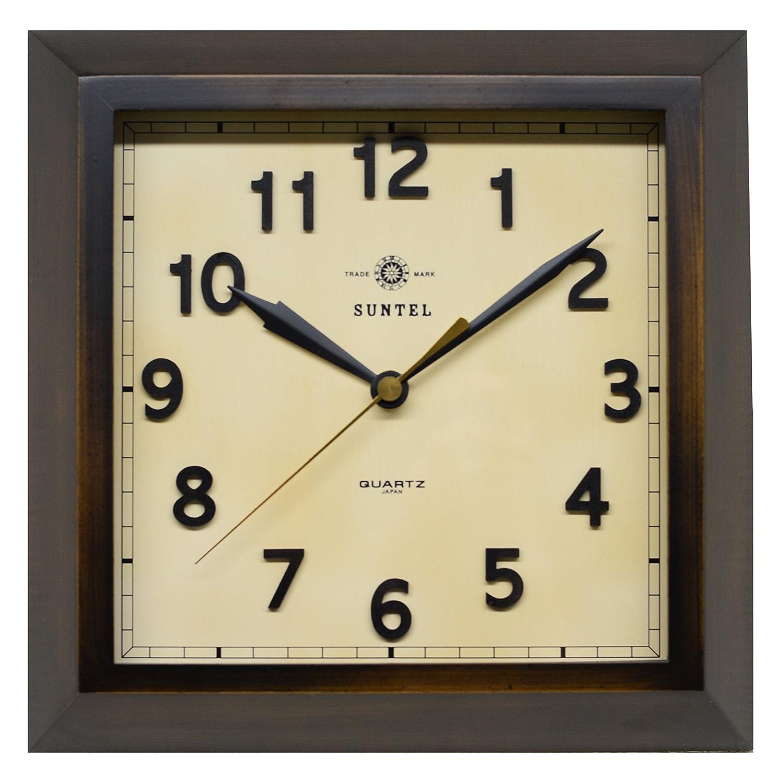 さんてる 天然木 角型 レトロ掛け時計 「スクエア」 日本製 ダークブラウン QL696AN B019E612ES ダークブラウン ダークブラウン