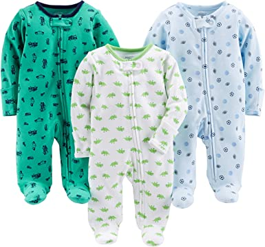New Carter/'s Simple Joys Baby Boy 3-Pack Cotton Footed Sleep n Play 0-3 Months