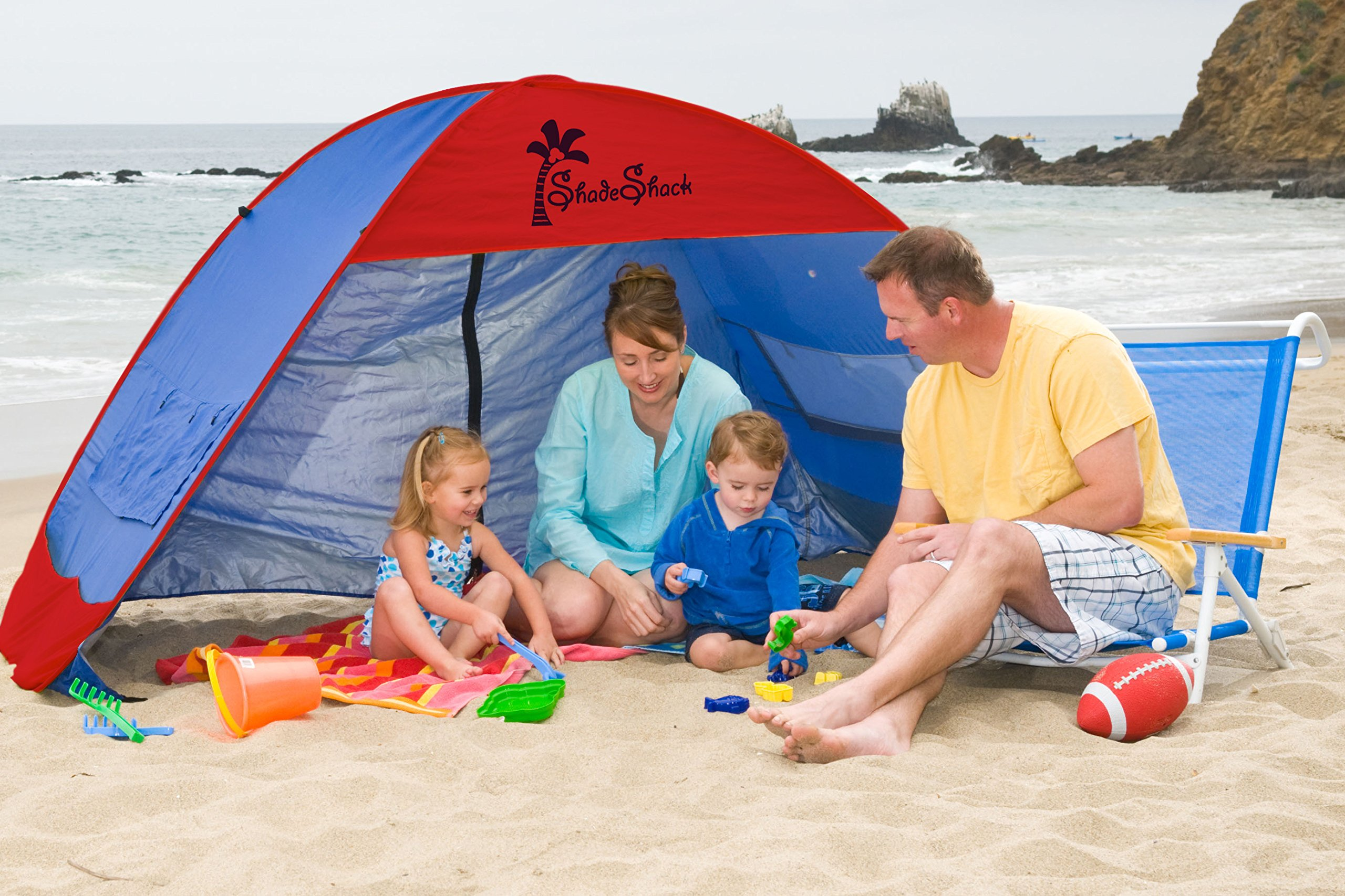 Shade Shack Beach Tent Easy Automatic Instant Pop Up Camping Sun Shelter - Blue/RED - Extra Large by Shade Shack