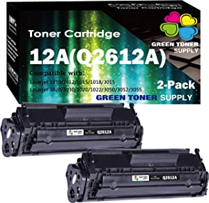 (2-Pack) Compatible 12A Q2612A Toner Cartridge 2612A Used for HP Laserjet 1012/1018/1020/1022/3015/3020/3030/3050/3052/P3055 M1319 1022NW M1319F M1319F M1005 Printer, by GTS