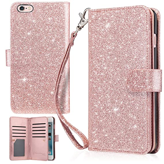 promo code 2bd98 545cd UrbanDrama iPhone 6 Plus Case, iPhone 6S Plus Wallet Case, Glitter Shiny  Faux Leather Magnetic Closure Credit Card Slot Cash Holder Protective Case  ...