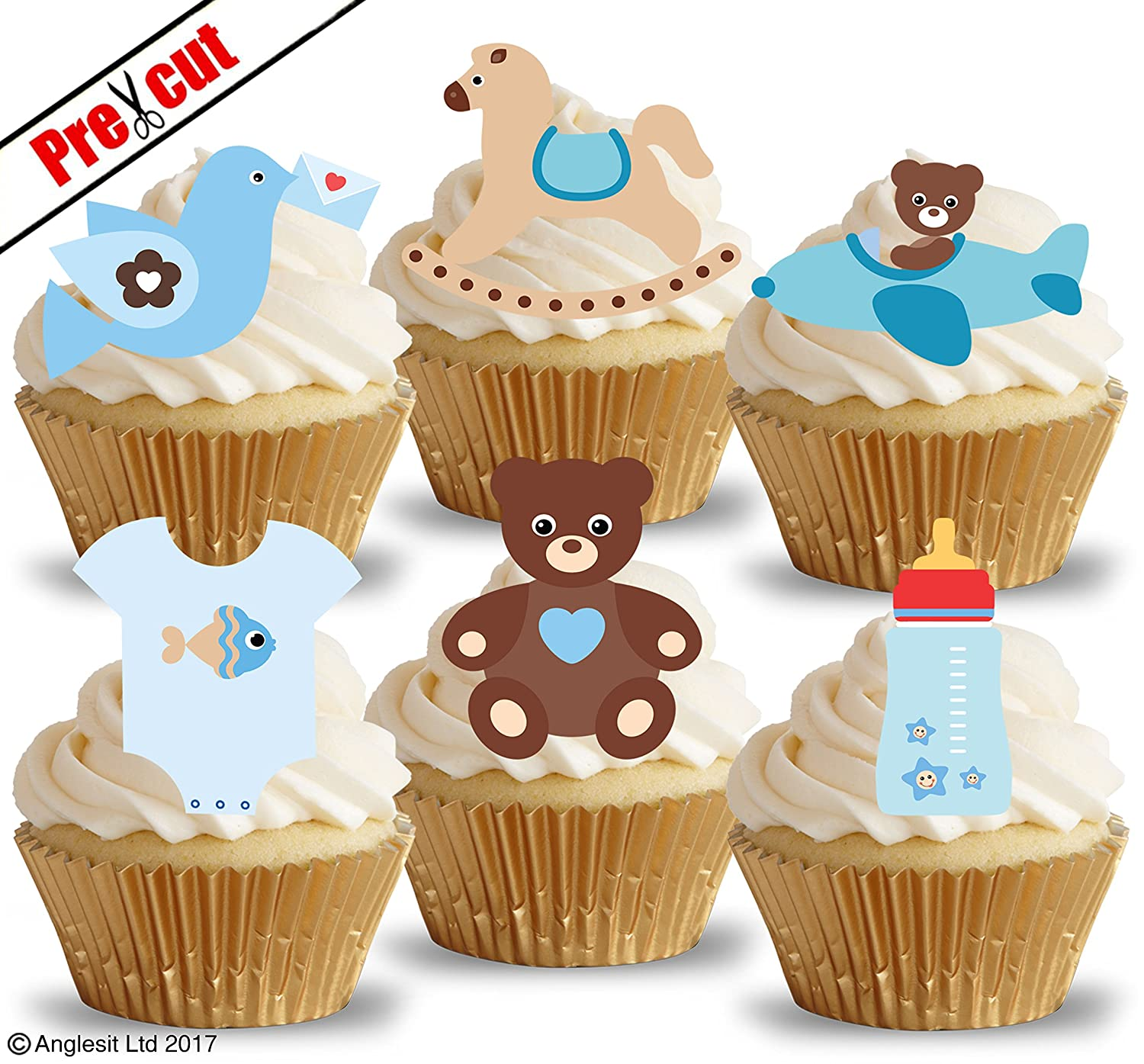 PRE-CUT CUTE BABY BOY TOYS & ACCESSORIES V. EDIBLE RICE / WAFER PAPER CUPCAKE  CAKE TOPPERS PARTY IT'S A BOY BABY SHOWER BIRTHDAY KIDS CHILDREN DECORATIONS