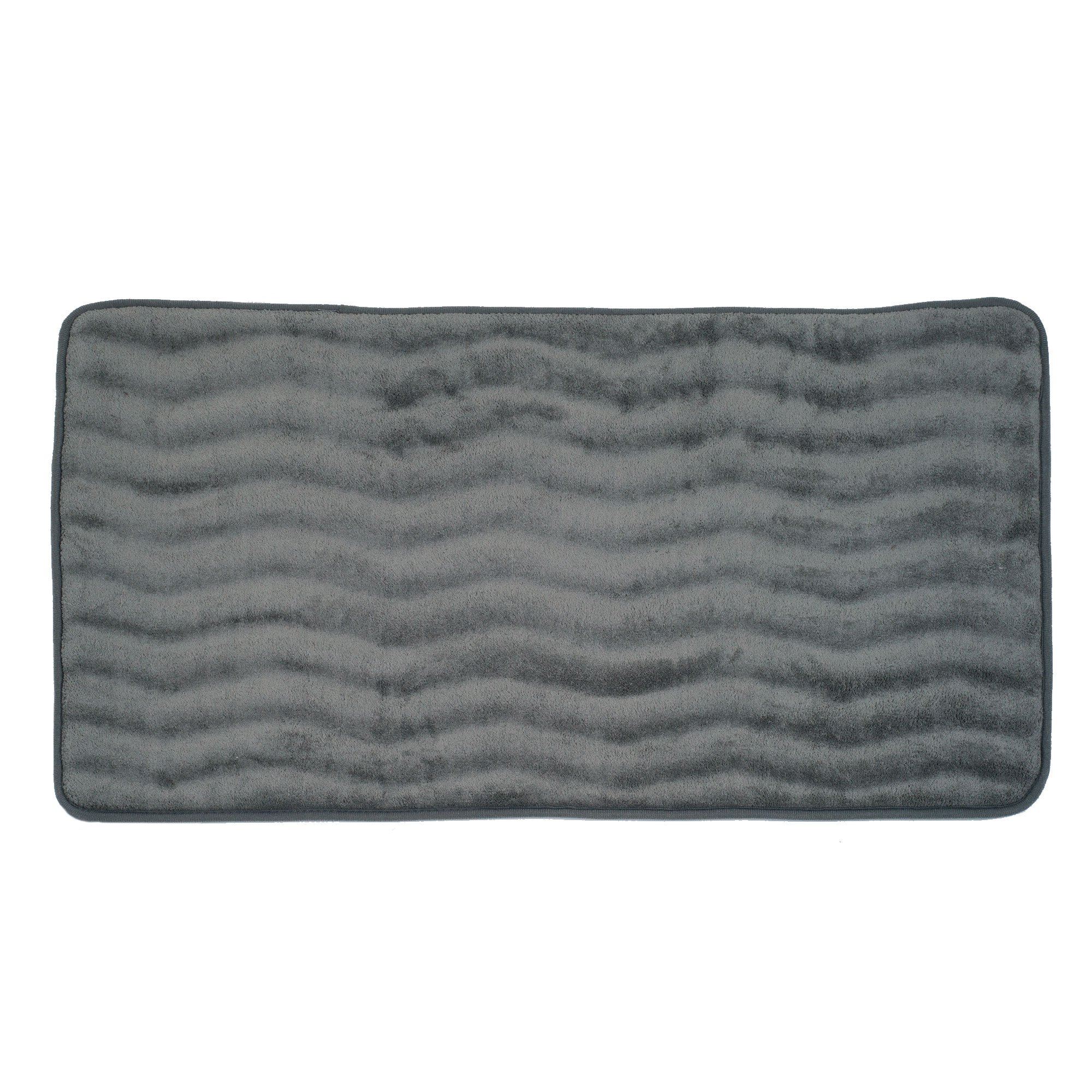 Lavish Home Microfiber Memory Foam Bathmat - Oversized Padded Nonslip Accent Rug for Bathroom, Kitchen, Laundry Room, Wave Pattern (Platinum) by Lavish Home