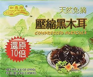Premium Dried All Natural Compressed Chinese Auricularia Black Fungus Mushroom (Black Wood Ear Mushroom) - 8.8 Oz -- 10 Times Volume Yield After Soaking