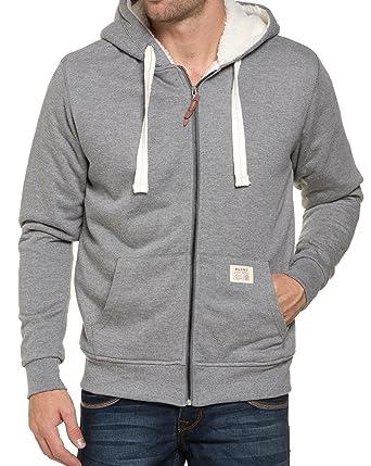 6f7f3d7c9ab12 BLZ Jeans - Sweat Zippé Gris Fourré A Capuche - couleur: Gris - taille: