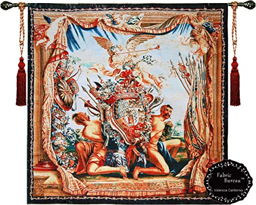 Beautiful Coat of Arms and Angel Medieval Tapestry Fine Tapestry Jacquard Woven Wall Hanging Art Decor