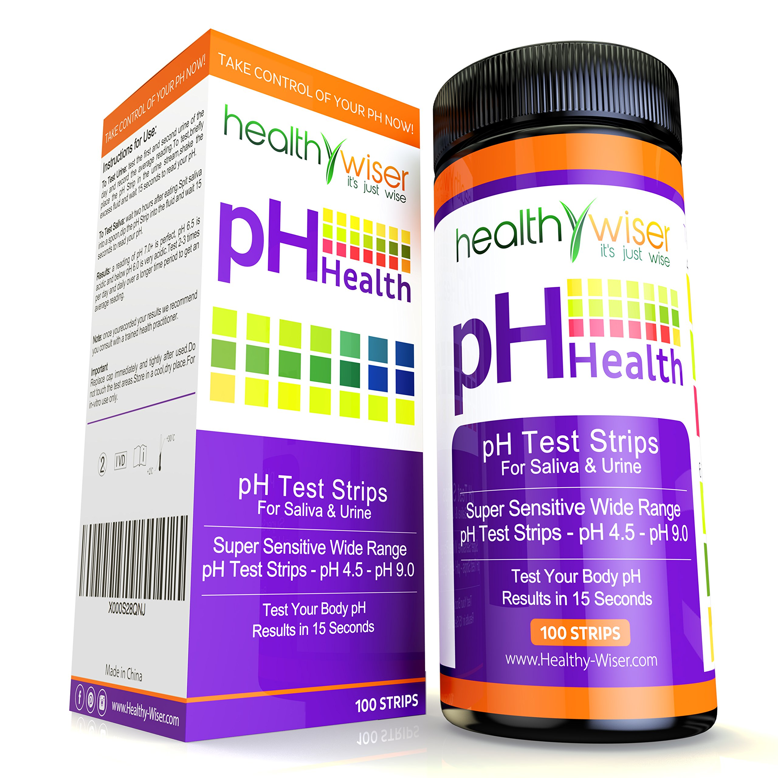 pH Test Strips Tests Body pH Levels for Alkaline & Acid levels Using Saliva and Urine. Track and Monitor Your pH Balance & A Healthy Diet, Get Accurate Results in Seconds 100ct pH Scale 4.5-9