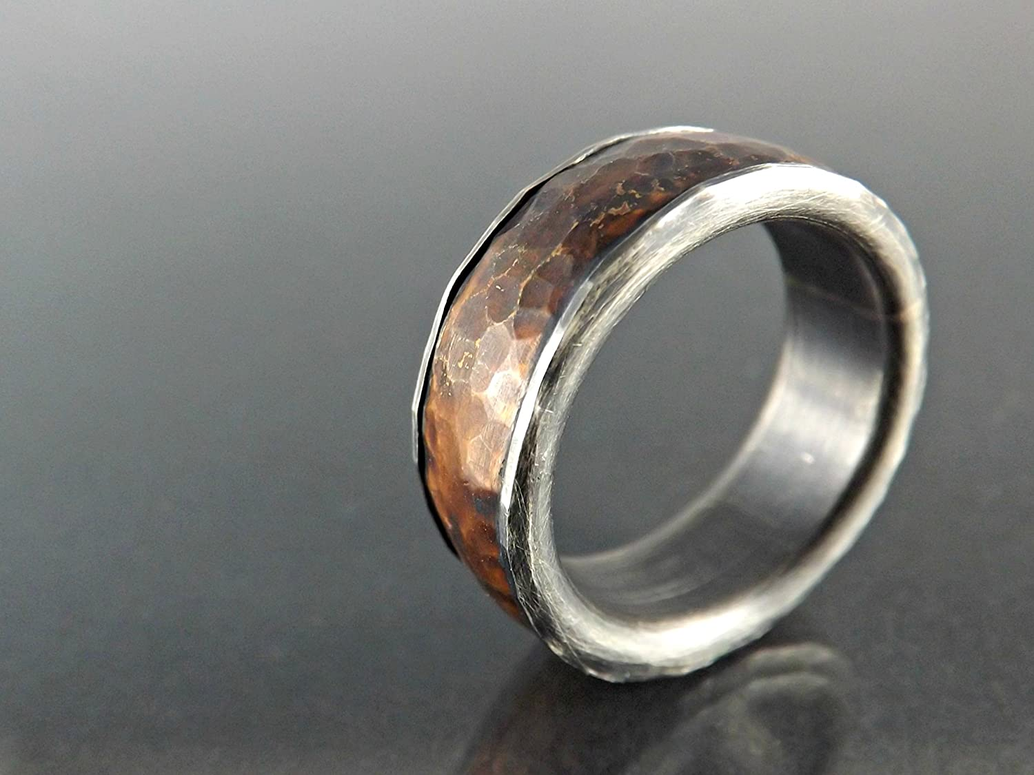 wedding il s ring rustic unique iron hammered made rings listing forged men