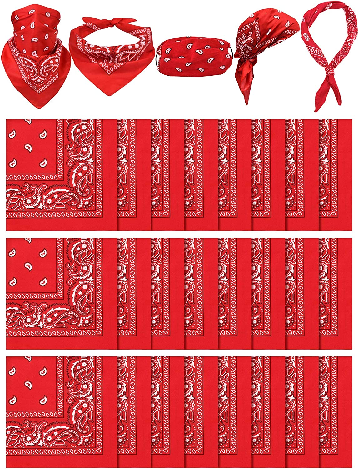 12 Pieces Paisley Print Bandanas Gift Set Multifunctional Paisley Head Wrap Headband Scarf for Men Women