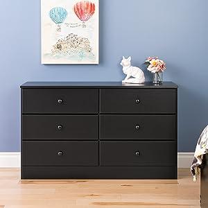 Prepac Astrid 6 Drawer Dresser, Black