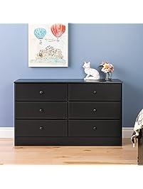 prepac astrid 6 drawer dresser black