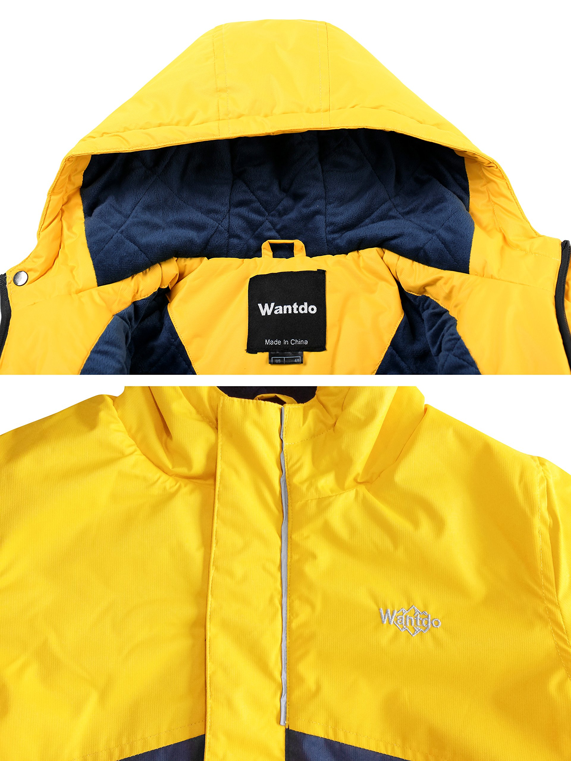 Wantdo Boy's Waterproof Quilted Ski Jacket Cotton Padded Coat Hooded Rainwear(Yellow+Dark Blue, 6/7) by Wantdo (Image #4)