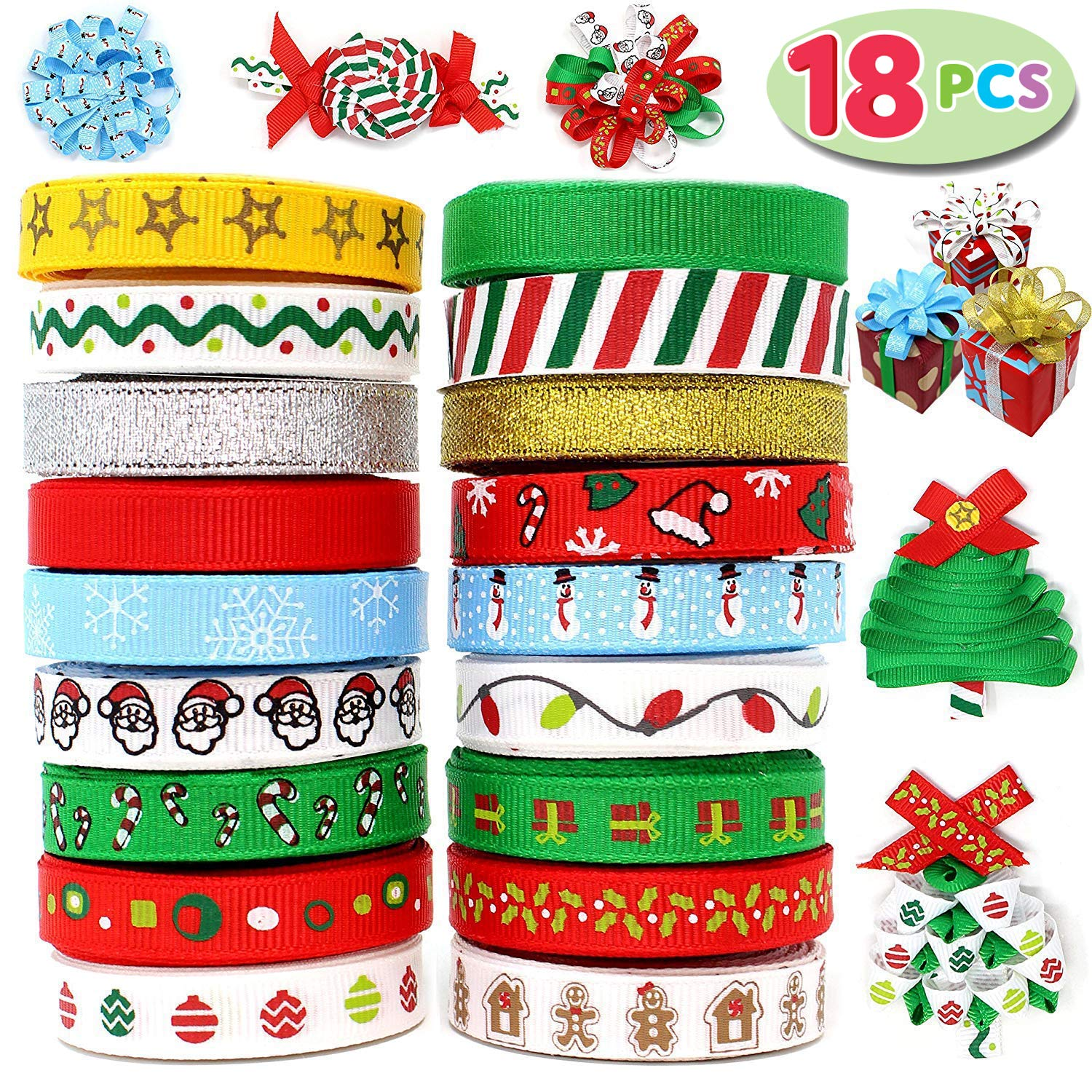 Joiedomi 18Pcs Christmas Ribbons; 90 Yard Grosgrain Satin Fabric Ribbons for Christmas Holiday Gift Box Wrapping, Hair Bow Clips, Gift Bows, Craft, Sewing, Wedding, Baby Shower and Wine Decoration Joyin Inc