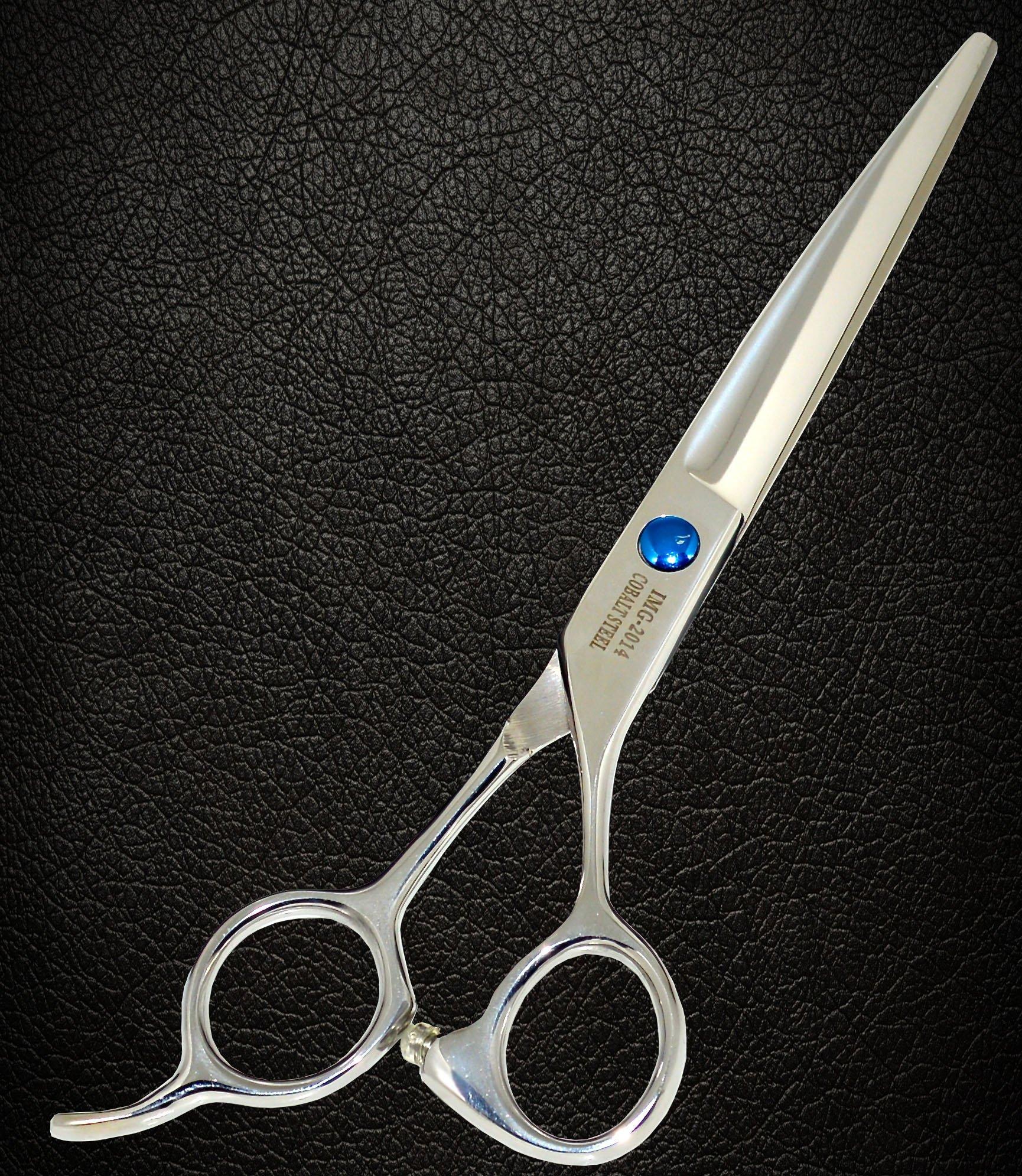 Equinox Professional Razor Edge Series - Barber Hair Cutting Scissors/Shears - 6.5'' Overall Length - Beautiful White Diamond Stones with Blue Chromium Fine Adjustment Tension Screw by Equinox International (Image #6)