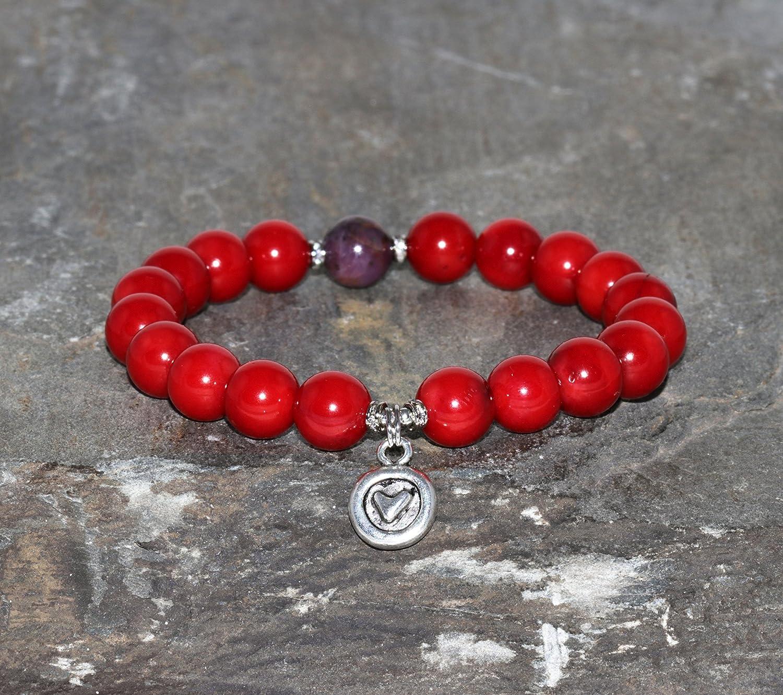 Pulsera de Rubí y Coral Rojo de 8 mm Piedras Preciosas Naturales Corazón de Plata Joyería Boho Chic Meditación Yoga Pulsera Roja y Morada