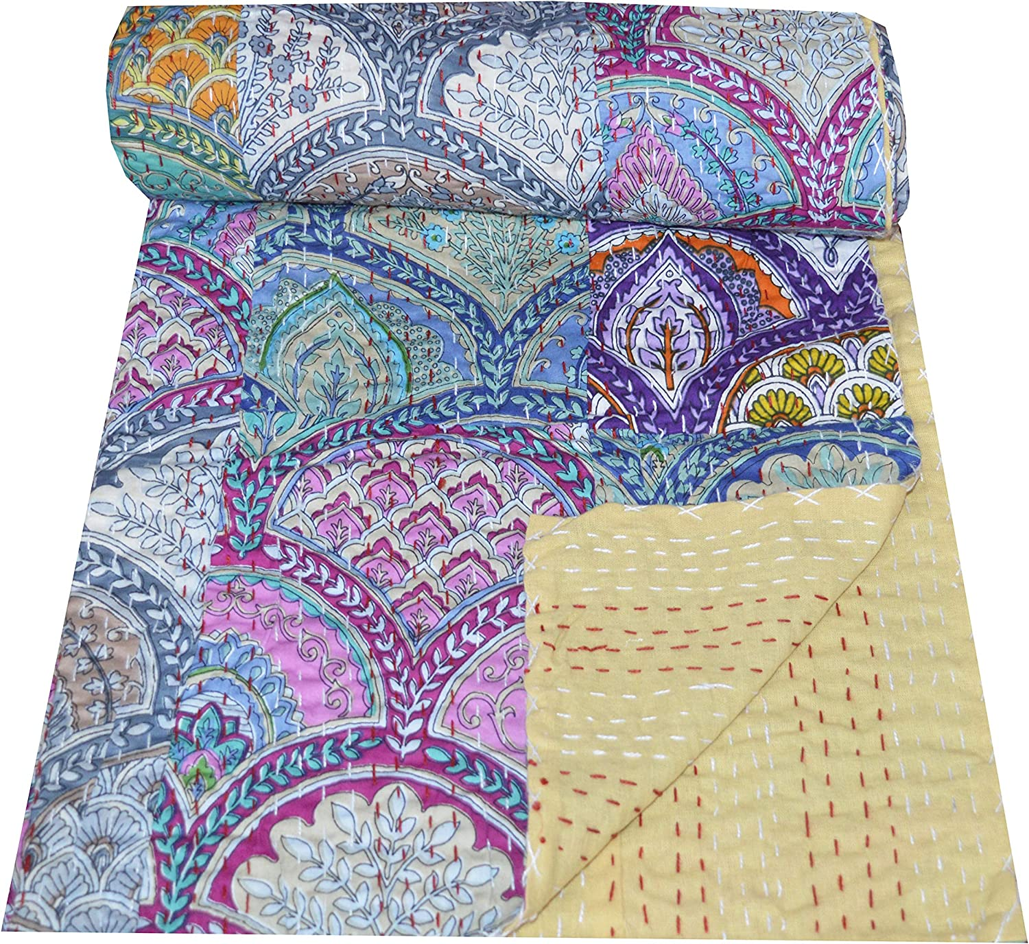 V Vedant Desings Hand Block Anokhi Print Cotton Kantha Bed Cover Quilt Throw Indian Blanket Quilt 88x106 Inch