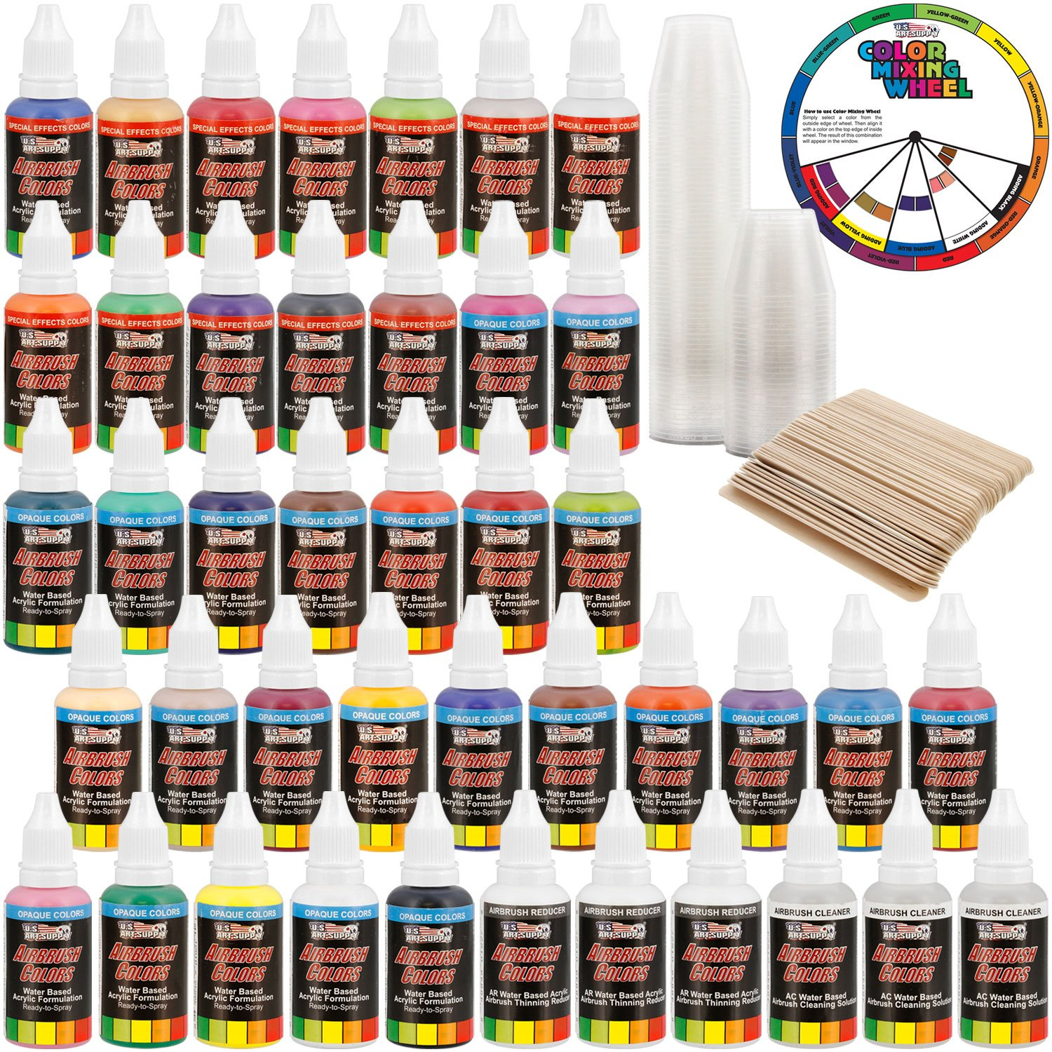 U.S. Art Supply 36 Color Deluxe Acrylic Airbrush, Leather & Shoe Paint Set with Cleaner, Thinner, 50-Plastic Mixing Cups, 50-Wooden Mix Sticks and Color Mixing Wheel by US Art Supply (Image #2)