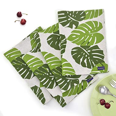 EJIAS Green Leaf Fabric Placemats Set of 4 Durable Washable Soft Cloth Placemats for Dining Table Heat Resistant Table Mats 18 X 12 Inch