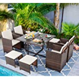 Vongrasig 9 Piece Small Patio Dining Set, Outdoor Space Saving PE Wicker Dining Furniture Set, Glass Patio Dining Table with
