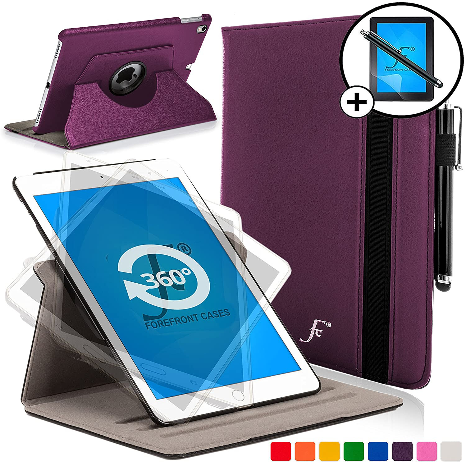 BLACK STYLUS /& SCREEN PROTECTOR 4th Generation - 2014 Model Rotating Smart Case Cover Stand Forefront Cases/®  Fire HD 7 Extra Padded Rugged with full device protection and Smart Auto Sleep Wake function