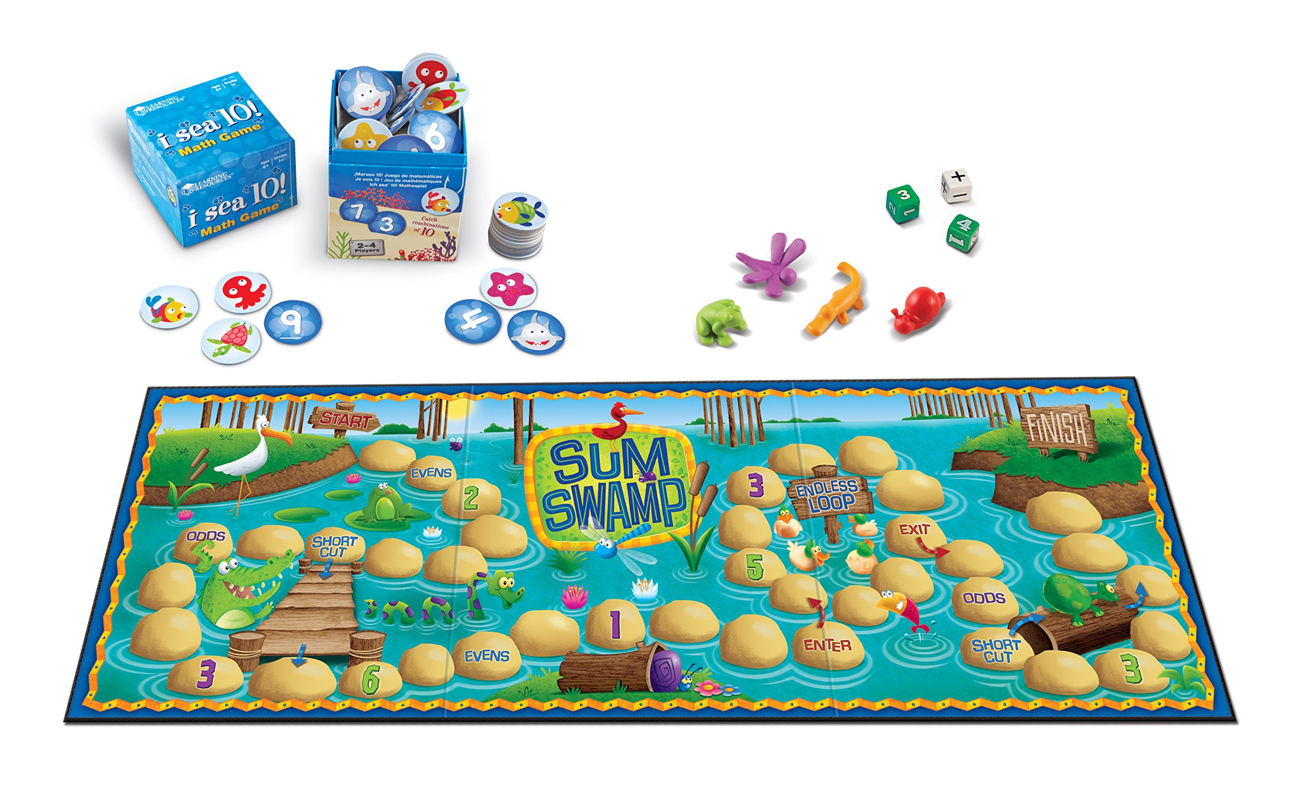 Learning Resources Math Adventure Pack, Sum Swamp & I Sea 10 Games, Multicolor