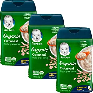 Gerber Baby Cereal, 1st Foods, Organic Oatmeal, 8 OZ (Pack of 3)
