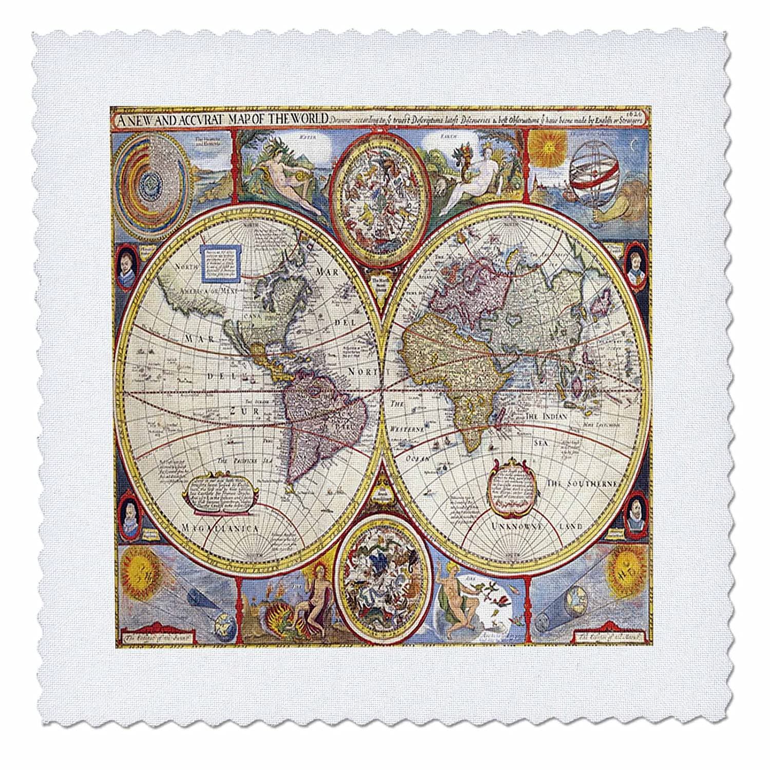 Amazon.com: 3dRose Print of 1626 Map Of The World - Quilt ...