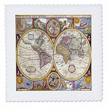 Amazon.com: 3dRose Print of 1626 Map Of The World - Quilt Square, 6 ...