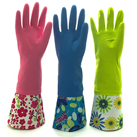 website for discount professional sale quite nice Reusable Waterproof Household Latex Cleaning Gloves, Long Cuff, Kitchen  Gloves. 16 inches Long - Pack of 3 (Large)