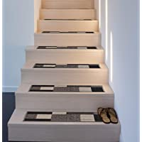Set of 13 Rugshop Modern Boxes Design Non-Slip Stair Treads