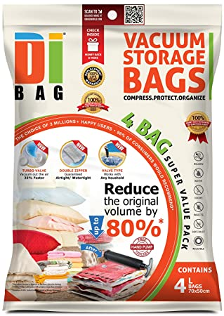 DIBAG - Bolsas de almacenaje al vacío de ropa para ahorrar espacio. 4 medianas (70x50cm) bolsas ahorradoras de espacio para viaje . Para ropa de cama, ...