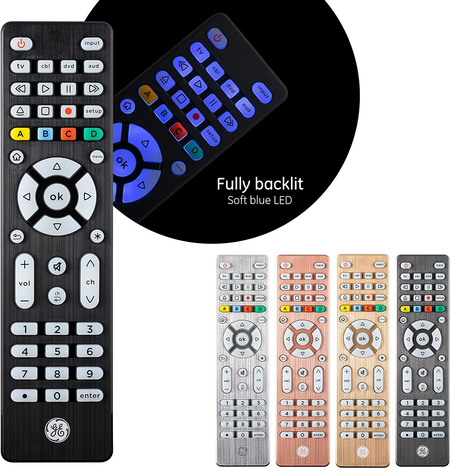 GE Backlit Universal Remote Control for Samsung, Vizio, LG, Sony, Sharp, Roku, Apple TV, RCA, Panasonic, Smart TV, Streaming Players, Blu-Ray, DVD, Simple Setup, 4-Device, Black, 48843