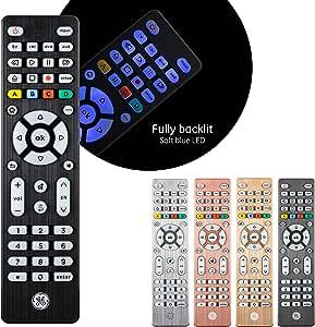 GE Backlit Universal Remote Control for Samsung, Vizio, LG, Sony, Sharp, Roku, Apple TV, RCA, Panasonic, Smart TV, Streaming Players, Blu-Ray, DVD, Simple Setup, 4-Device, Black, 48843