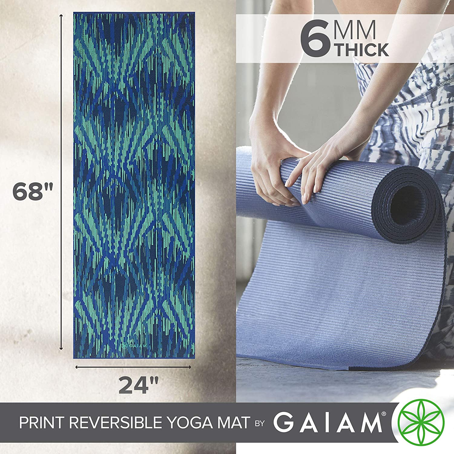 Premium 6mm Print Reversible Extra Thick Non Slip Exercise /& Fitness Mat for All Types of Yoga 68 x 24 x 6mm Thick Pilates /& Floor Workouts Gaiam Yoga Mat