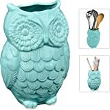 MyGift Aqua Blue Owl Design Ceramic Cooking Utensil Holder / Multipurpose Kitchen Storage Crock